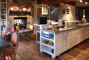 Traditional Kitchen with Glass panel, Stainless steel counters, Breakfast nook, Inset cabinets, Box beam ceiling, can lights