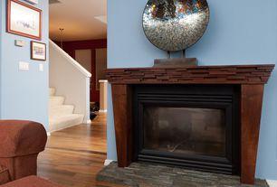 Modern Living Room with Exotics - Yorkshire Walnut 8 mm Laminate Wood Look, Hardwood floors, Carpet stairs, stone fireplace