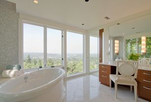 Contemporary Full Bathroom with wall-mounted above mirror bathroom light, Simple marble counters, Standard height, Casement