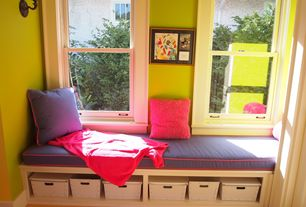 Contemporary Playroom with Carpet, Window seat, Wall sconce