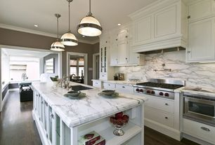 Traditional Kitchen with Pendant light, Complex Marble, Flat panel cabinets, One-wall, Calacatta classic marble, Glass panel