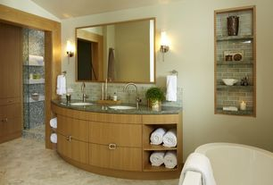 Contemporary Full Bathroom with Master bathroom, Inset cabinets, Standard height, Wall sconce, partial backsplash, Shower