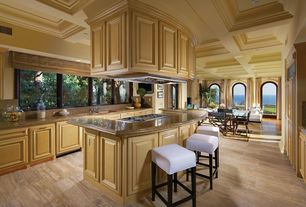 Traditional Kitchen with U-shaped, MS International - Butterfly Gold Granite Countertop, travertine tile floors, Raised panel