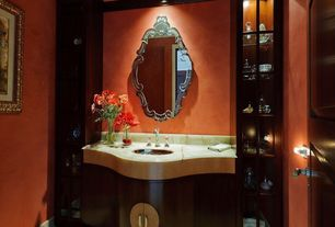 Eclectic Powder Room with Venetian gems donna venetian wall mirror, Custom alabaster countertop