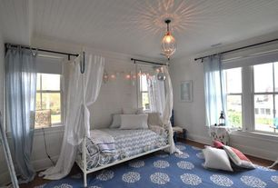 Contemporary Kids Bedroom with Pier 1 Cane Sheer Curtain - Smoke Blue, Hillsdale Westfield Metal Canopy Bed in Off White