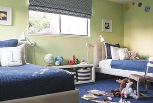 Contemporary Kids Bedroom with specialty window, Standard height, Carpet