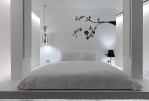 Modern Master Bedroom with Touch of vinyl bare winter tree branch wall decal w/ birds removable vinyl sticker