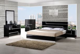 Modern Master Bedroom with Chandra Rugs Camilia Ivory Shag Rug, Pental Meteor Porcelain Tile - Grigio