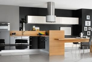 Contemporary Kitchen with European Cabinets, Breakfast bar, L-shaped, Flush, Wood counters, Kitchen peninsula