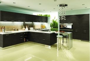 Modern Kitchen with Metal Tile, Alloy Quad 11 7/8 in. x 11 7/8 in. x 8 mm Stainless Steel Over Porcelain Mosaic Wall Tile