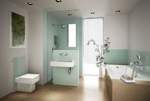 Contemporary 3/4 Bathroom with Universal tubs sapphire acrylic reversible drain rectangular bathtub in white, Paint 1