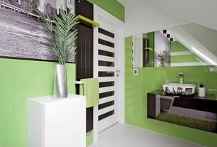 """Tropical Full Bathroom with Daltile Gallery 12""""x24"""" Lime Polished Wall Tile"""