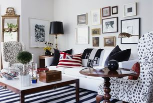 Contemporary Living Room with Paint, Custom upholstered club chair, Striped area rug, Throw pillow, Freestanding mirror