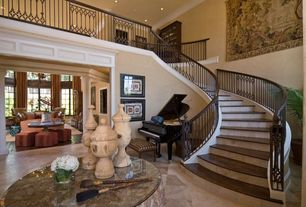 Traditional Staircase with Loft, Cathedral ceiling, Concrete tile , Crown molding