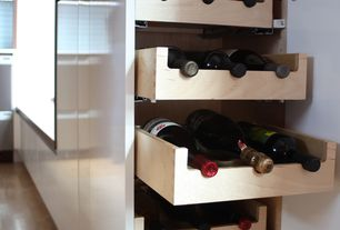 Contemporary Wine Cellar with Wine Logic In-Cabinet 12 Bottle Wine Rack, Hardwood floors
