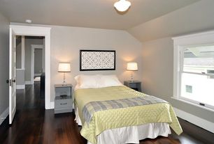 Modern Guest Bedroom with double-hung window, flush light, Hardwood floors, six panel door, Standard height