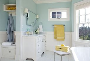 Contemporary Master Bathroom with Vinyl floors, partial backsplash, Crown molding, Restoration hardware bistro pivot mirror