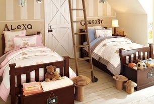 Cottage Kids Bedroom with Hardwood floors, Exposed beam, six panel door, Standard height