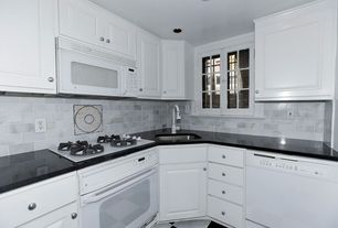 Traditional Kitchen with Undermount sink, Raised panel, Absolute black granite, Cleanflo Kitchen Faucet