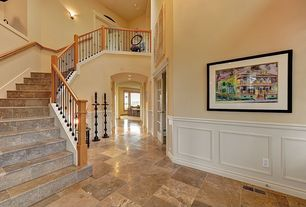 Eclectic Hallway with Balcony, French doors, MONO SERRA-Trento Wengue 22.4 in. x 22.4 in. Stoneware Floor and Wall Tile