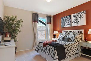 Contemporary Guest Bedroom with flush light, West Elm Organic Chevron Duvet Cover + Shams, High ceiling, Carpet