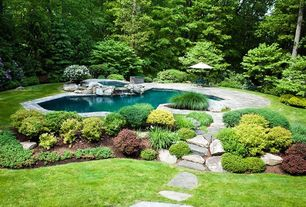Rustic Swimming Pool with exterior stone floors, Pool with hot tub, Pathway
