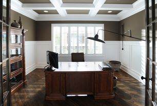 Traditional Home Office with Chair rail, Hardwood floors, French doors, Box ceiling, Crown molding, Wainscotting