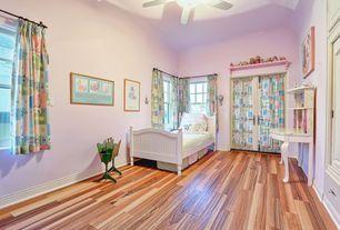 Country Kids Bedroom with Hardwood floors, flush light, no bedroom feature, Ceiling fan, Casement, Standard height