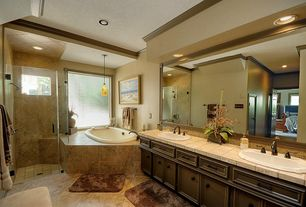 Traditional Full Bathroom with partial backsplash, Bathtub, Sauna, High ceiling, Framed Partial Panel, Jetted showerhead