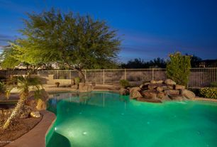 Rustic Swimming Pool with Fountain, Outdoor kitchen, Fence, exterior stone floors