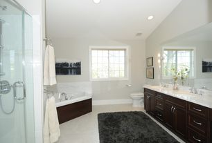 Modern Master Bathroom with Frameless, Double sink, Raised panel, Undermount sink, Simple Marble, Master bathroom
