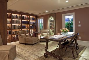 Traditional Home Office with Carpet, Built-in bookshelf
