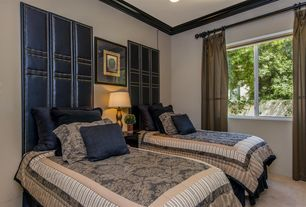 Traditional Guest Bedroom with Carpet, High ceiling, can lights, specialty window, Crown molding