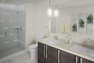 Contemporary 3/4 Bathroom with Undermount sink, Simple Marble, Pendant light, Standard height, Double sink, can lights, Paint