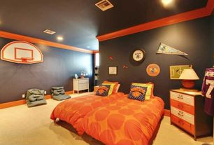 Contemporary Kids Bedroom with Crown molding, Carpet, can lights, Paint, Standard height
