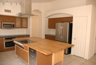 "Traditional Kitchen with Glass panel, Kitchen island, Dacor distinctive 27"" single wall oven, L-shaped, flush light, Flush"
