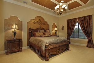 Traditional Guest Bedroom with Crown molding, Stiffel  - n8144 33h in. table lamp, Wall sconce, Carpet, Standard height