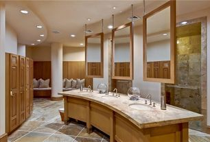 Contemporary Master Bathroom with frameless showerdoor, Window seat, stone tile floors, European Cabinets, Master bathroom