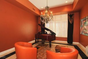 Contemporary Living Room with simple marble floors, Chandelier, Christoper knight napoli orange club chair
