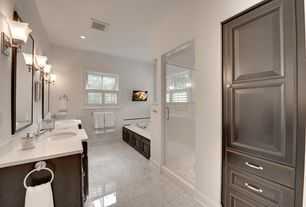 Contemporary Master Bathroom with Undermount sink, Master bathroom, Simple Marble, Frameless, Raised panel, Double sink