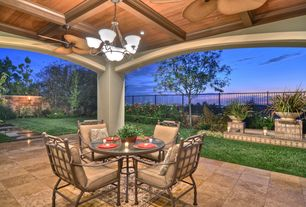 Traditional Patio with exterior tile floors, Fence, exterior concrete tile floors