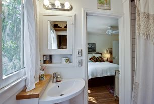 Eclectic Full Bathroom with Ceiling fan, Kichler Lighting - 3 Light Strip Bathroom Light, Inset cabinets, Powder room