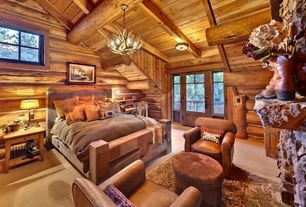 Rustic Guest Bedroom with New heirloom silver-chest panel bed with footboard, Lodge, Area rug, Glass panel door, Chandelier