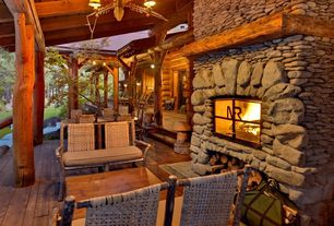 Rustic Porch with stone fireplace, Pillars, Screened porch