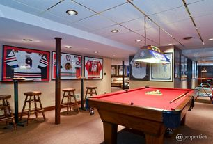 Traditional Game Room with Pendant light, Cuetec R-360 Edge Stained Pool Cue, Aramith Super Pro Value Ball Pak, Carpet
