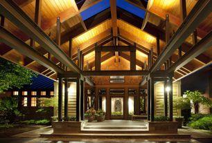 Craftsman Front Door with specialty window, exterior concrete tile floors, exterior tile floors