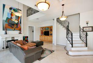 Modern Living Room with Loft, Pendant light, flush light, Concrete tile