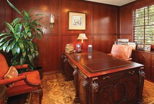 Traditional Home Office with specialty window, Hardwood floors, Standard height