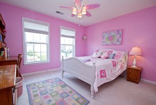 Country Kids Bedroom with Carpet, Ceiling fan, flush light