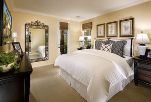 Traditional Guest Bedroom with Carpet, Roman shades, French doors, Crown molding